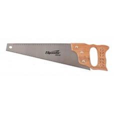 Ножовка по дереву, 400 мм, 7-8 ТРI, каленый зуб, линейка, деревянная рукоят