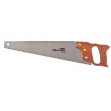 Ножовка по дереву, 450 мм, 7-8 ТРI, каленый зуб, линейка, деревянная рукоят