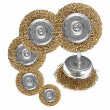 Набор щеток для дрели, 6 шт., 5 плоских 40-50-65-75-100 мм + 1 чашка 50 мм,
