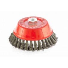 Щетка для УШМ, 150 мм, М14, чашка, крученая проволока 0,35 мм MATRIX 74618