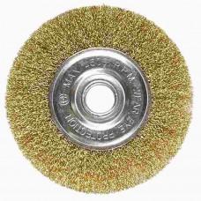 Щетка для УШМ, 100 мм, посадка 22,2 мм, плоская, латунированная витая прово