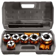 Набор клуппов 1/4-3/8-1/2-3/4-1-1,25 + плашкодер. с трещ., 9 предм в ящике