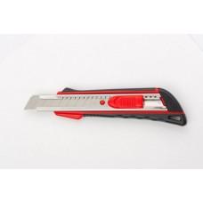 Нож, 18 мм выдвижное лезвие, метал. направляющая, эргоном. двухкомпонентная