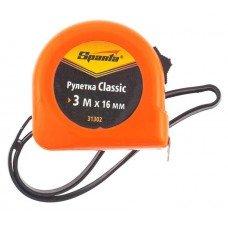 Рулетка Classic, 3 м х 16 мм, пластиковый корпус/ SPARTA 31302