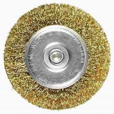 Щетка для дрели 100 мм, плоская со шпилькой, латунированная витая проволока