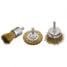 Набор щеток для дрели, 3 шт., 1 плоская, 50 мм, + 2 чашки, 25-50 мм, со шпи