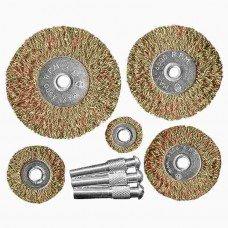 Набор щеток для дрели, 5 шт., 5 плоских 25-38-50-63-75 мм, со шпильками, ме