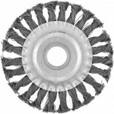Щетка для УШМ 100 мм, посадка 22,2 мм, плоская, крученая проволока 0,5 мм