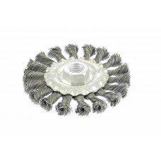 Щетка для УШМ 100 мм, М14, плоская, крученая проволока 0,5 мм MATRIX 74639