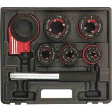 Набор клуппов 1/4-1/2-3/4-1-1,25+ плашкодержатель с трещоткой, 8 предм.