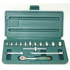 Набор головок торцевых 1/4DR 4-14 мм., с аксессуарами, 15 предметов