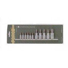 Набор головок-бит 1/4, 3/8 Torx 11 пр. T10-Т60 на планке в блистере FORCE